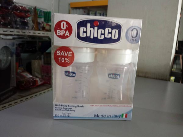 botol chicco 150ml silicone 2pcs